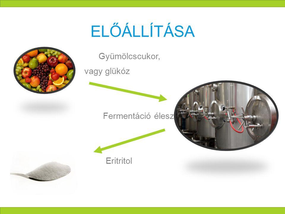 ELŐÁLLÍTÁSA  Gyümölcscukor, vagy glükóz  Fermentáció élesztőgombákkal  Eritritol