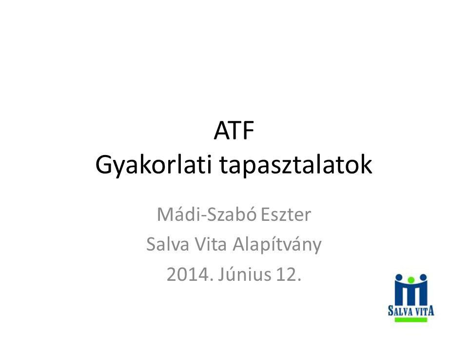 ATF Gyakorlati tapasztalatok Mádi-Szabó Eszter Salva Vita Alapítvány 2014. Június 12.