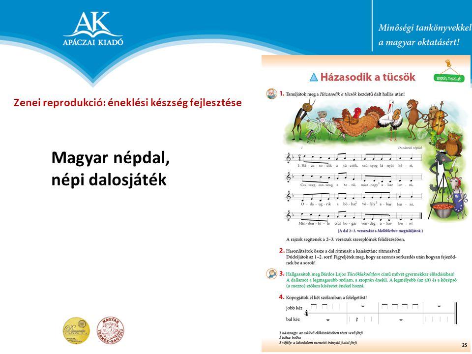 Magyar népdal, népi dalosjáték Zenei reprodukció: éneklési készség fejlesztése