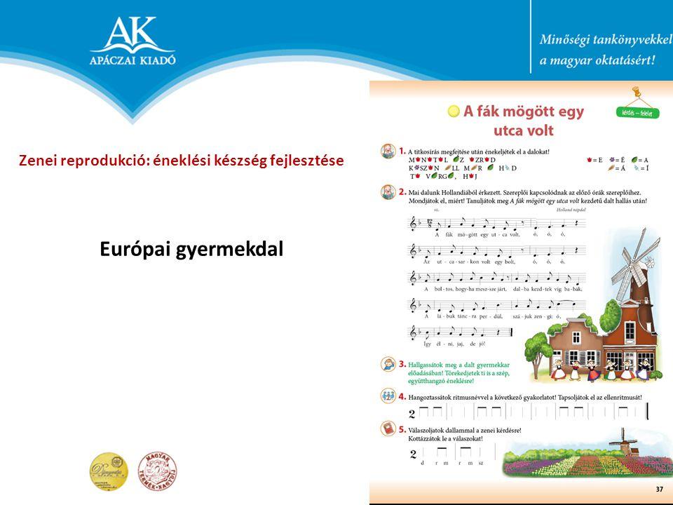 Európai gyermekdal Zenei reprodukció: éneklési készség fejlesztése