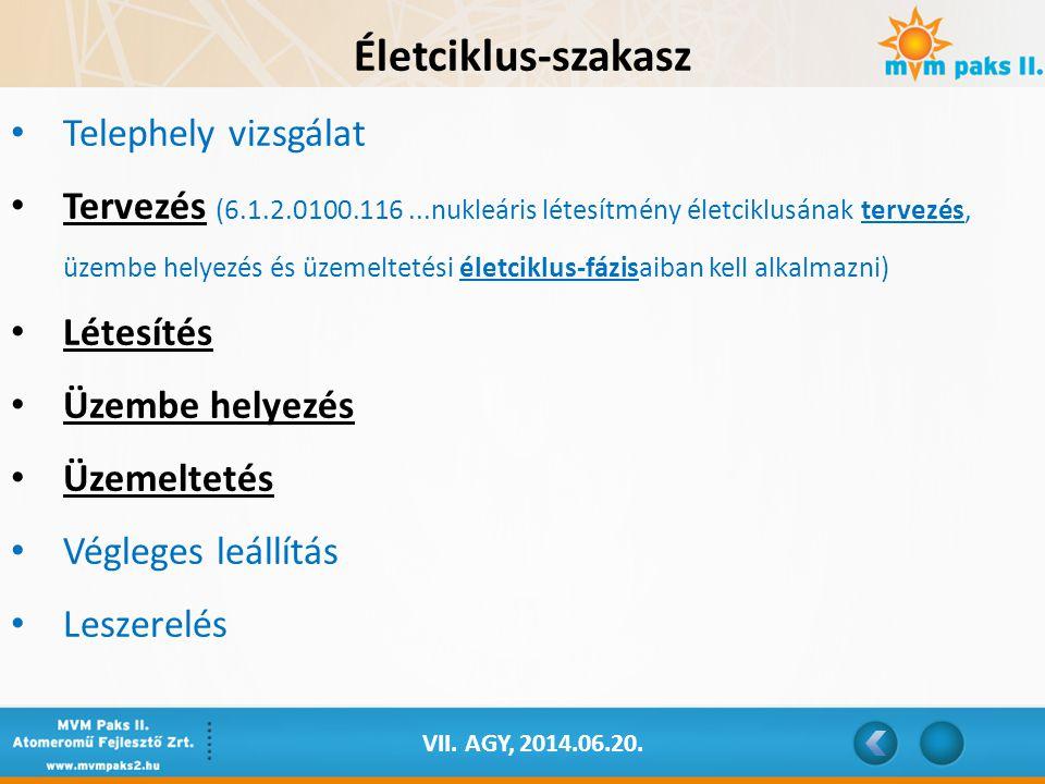 VII. AGY, 2014.06.20. Életciklus-szakasz Telephely vizsgálat Tervezés (6.1.2.0100.116...nukleáris létesítmény életciklusának tervezés, üzembe helyezés