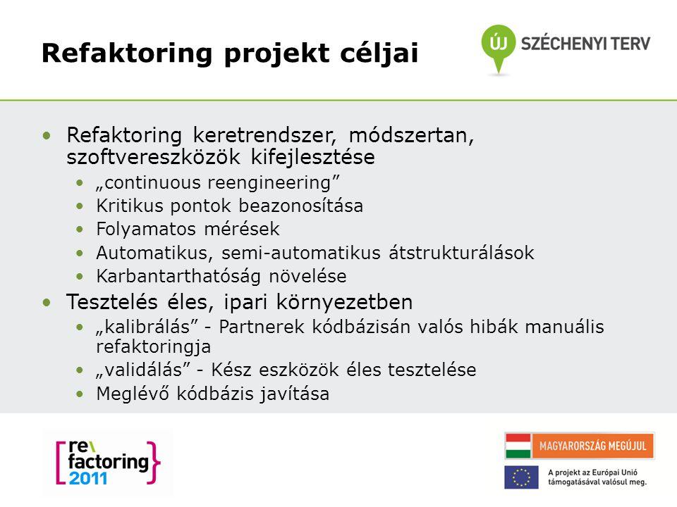 """Refaktoring projekt céljai Refaktoring keretrendszer, módszertan, szoftvereszközök kifejlesztése """"continuous reengineering"""" Kritikus pontok beazonosít"""