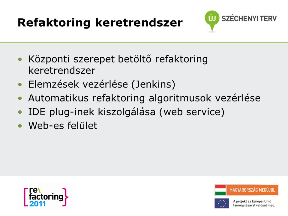 Refaktoring keretrendszer Központi szerepet betöltő refaktoring keretrendszer Elemzések vezérlése (Jenkins) Automatikus refaktoring algoritmusok vezérlése IDE plug-inek kiszolgálása (web service) Web-es felület 19