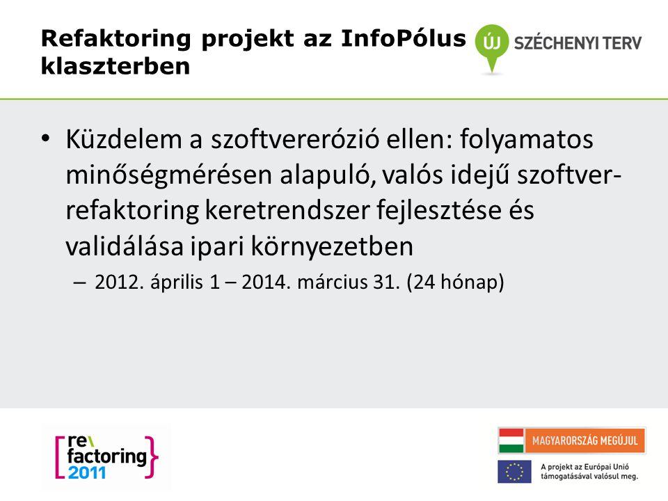 Refaktoring projekt az InfoPólus klaszterben 2 Küzdelem a szoftvererózió ellen: folyamatos minőségmérésen alapuló, valós idejű szoftver- refaktoring keretrendszer fejlesztése és validálása ipari környezetben – 2012.