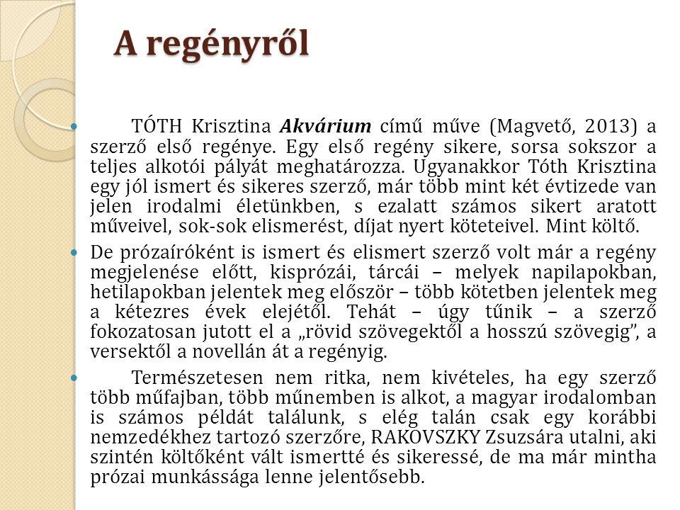 A regényről TÓTH Krisztina Akvárium című műve (Magvető, 2013) a szerző első regénye. Egy első regény sikere, sorsa sokszor a teljes alkotói pályát meg