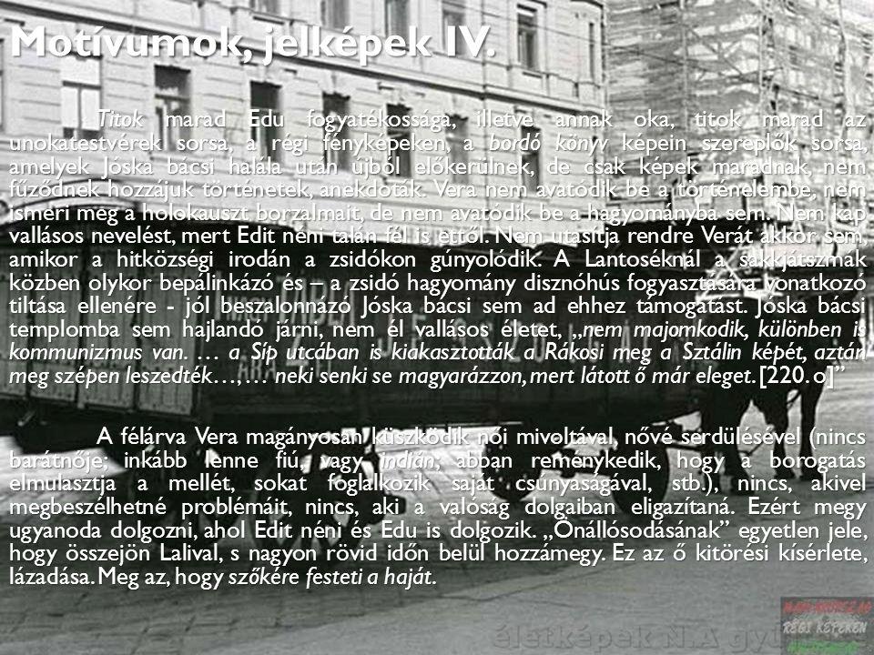 Motívumok, jelképek IV. Titok marad Edu fogyatékossága, illetve annak oka, titok marad az unokatestvérek sorsa, a régi fényképeken, a bordó könyv képe