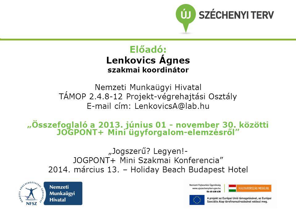 """Előadó: Lenkovics Ágnes szakmai koordinátor Nemzeti Munkaügyi Hivatal TÁMOP 2.4.8-12 Projekt-végrehajtási Osztály E-mail cím: LenkovicsA@lab.hu """"Össze"""