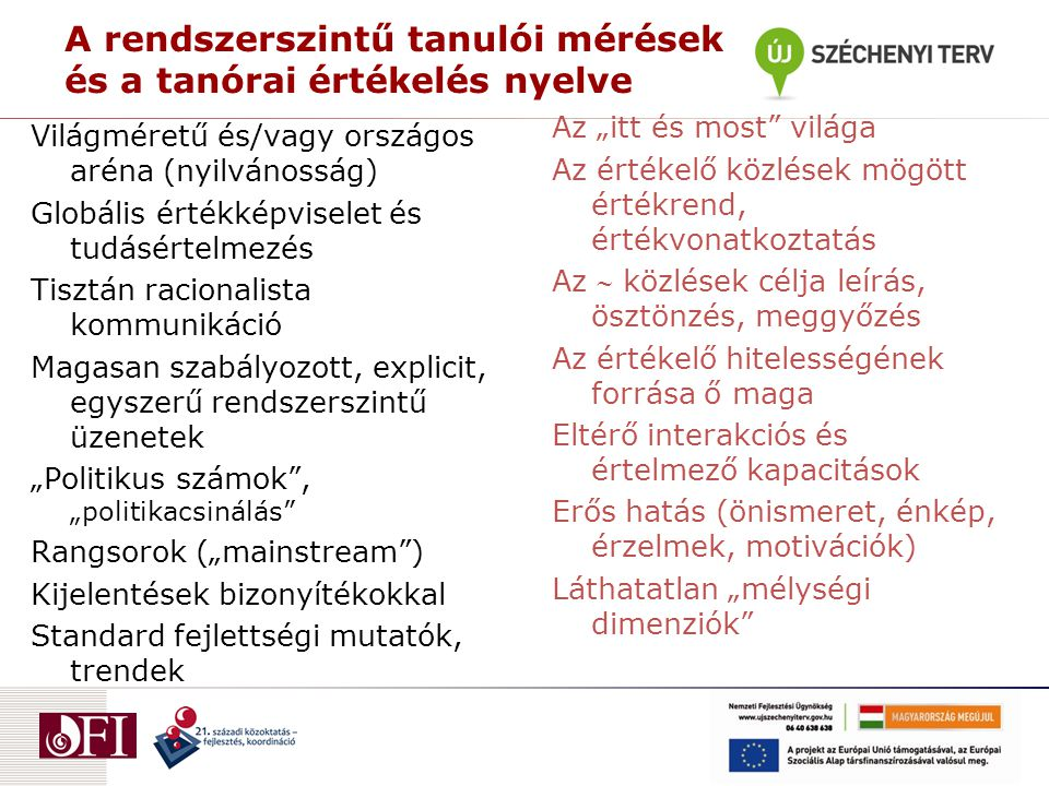 """A rendszerszintű tanulói mérések és a tanórai értékelés nyelve Világméretű és/vagy országos aréna (nyilvánosság) Globális értékképviselet és tudásértelmezés Tisztán racionalista kommunikáció Magasan szabályozott, explicit, egyszerű rendszerszintű üzenetek """"Politikus számok , """"politikacsinálás Rangsorok (""""mainstream ) Kijelentések bizonyítékokkal Standard fejlettségi mutatók, trendek Az """"itt és most világa Az értékelő közlések mögött értékrend, értékvonatkoztatás Az  közlések célja leírás, ösztönzés, meggyőzés Az értékelő hitelességének forrása ő maga Eltérő interakciós és értelmező kapacitások Erős hatás (önismeret, énkép, érzelmek, motivációk) Láthatatlan """"mélységi dimenziók"""