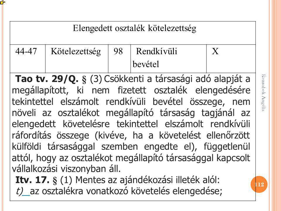 Rezsabek Angéla 112 Elengedett osztalék kötelezettség 44-47Kötelezettség98 Rendkívüli bevétel X Tao tv. 29/Q. § (3) Csökkenti a társasági adó alapját