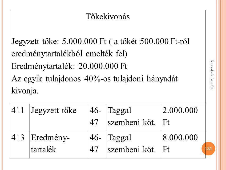 131 Tőkekivonás Jegyzett tőke: 5.000.000 Ft ( a tőkét 500.000 Ft-ról eredménytartalékból emelték fel) Eredménytartalék: 20.000.000 Ft Az egyik tulajdo