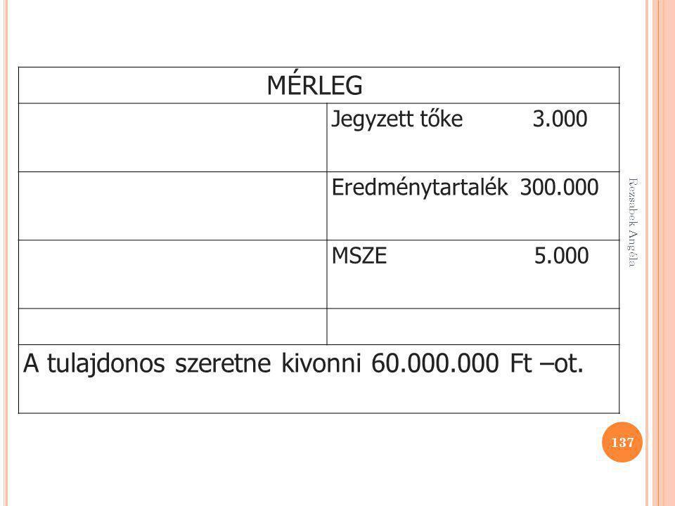 137 MÉRLEG Jegyzett tőke 3.000 Eredménytartalék 300.000 MSZE 5.000 A tulajdonos szeretne kivonni 60.000.000 Ft –ot.