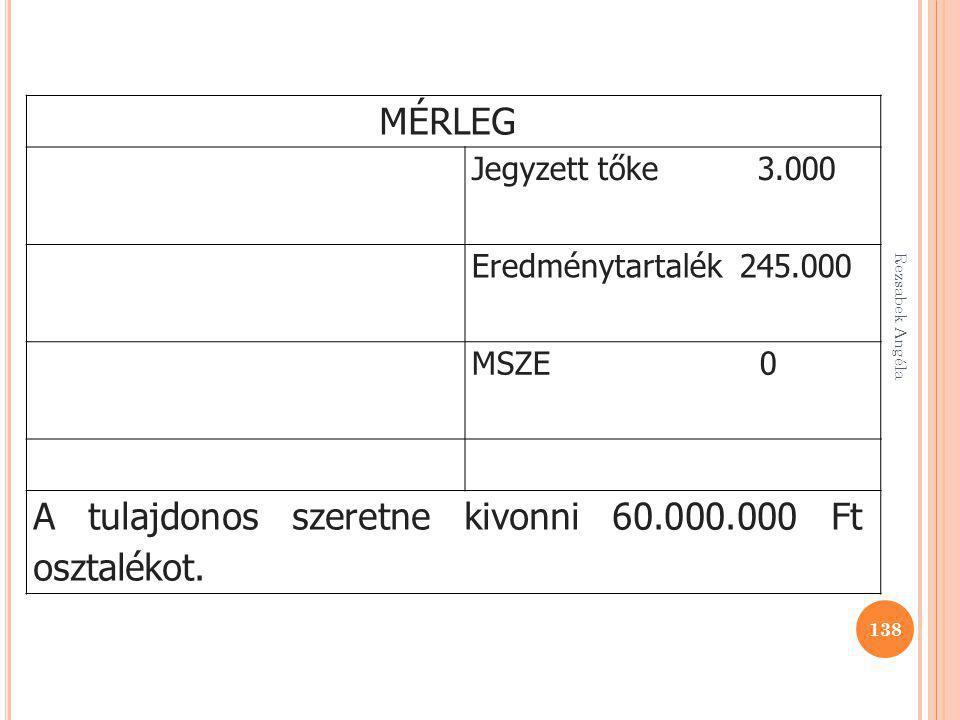 Rezsabek Angéla 138 MÉRLEG Jegyzett tőke 3.000 Eredménytartalék 245.000 MSZE 0 A tulajdonos szeretne kivonni 60.000.000 Ft osztalékot.