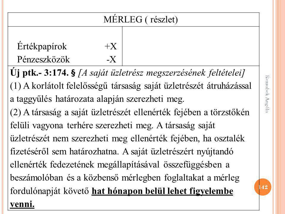 142 MÉRLEG ( részlet) Értékpapírok +X Pénzeszközök -X Új ptk.- 3:174. § [A saját üzletrész megszerzésének feltételei] (1) A korlátolt felelősségű társ