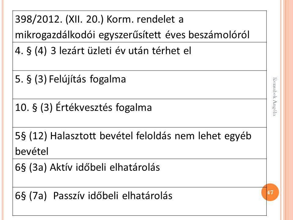47 398/2012. (XII. 20.) Korm. rendelet a mikrogazdálkodói egyszerűsített éves beszámolóról 4. § (4) 3 lezárt üzleti év után térhet el 5. § (3) Felújít