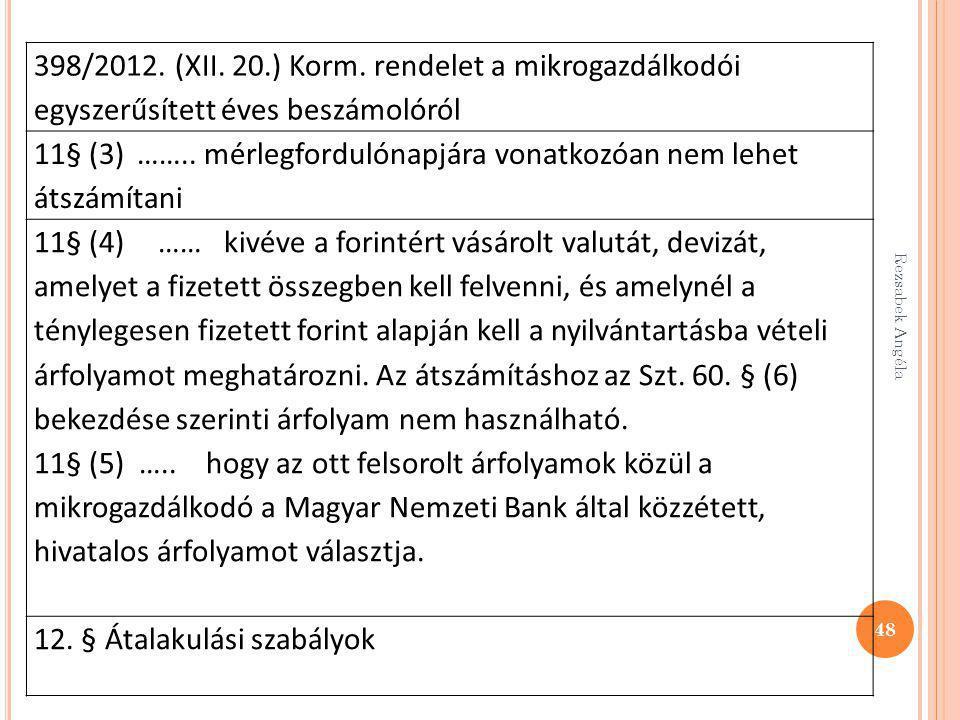 Rezsabek Angéla 48 398/2012. (XII. 20.) Korm. rendelet a mikrogazdálkodói egyszerűsített éves beszámolóról 11§ (3) …….. mérlegfordulónapjára vonatkozó