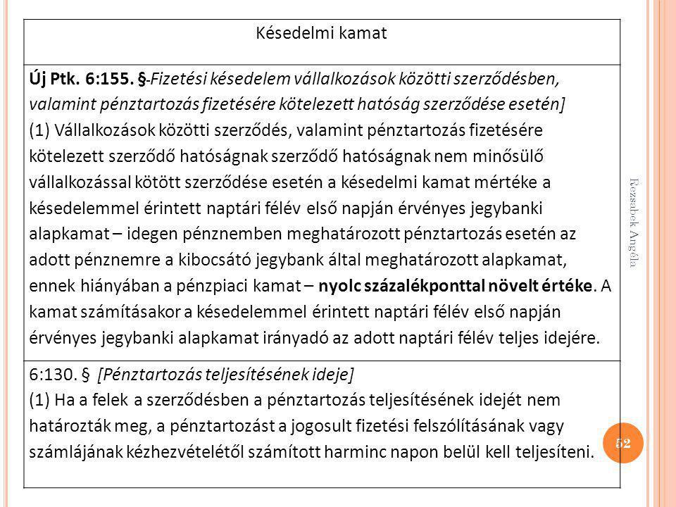 52 Késedelmi kamat Új Ptk. 6:155. § Fizetési késedelem vállalkozások közötti szerződésben, valamint pénztartozás fizetésére kötelezett hatóság szerződ
