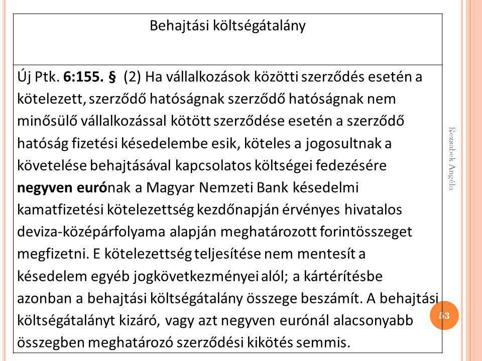Rezsabek Angéla 53 Behajtási költségátalány Új Ptk. 6:155. § (2) Ha vállalkozások közötti szerződés esetén a kötelezett, szerződő hatóságnak szerződő