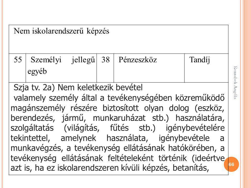 Rezsabek Angéla 66 Nem iskolarendszerű képzés 55 Személyi jellegű egyéb 38PénzeszközTandíj Szja tv. 2a) Nem keletkezik bevétel valamely személy által