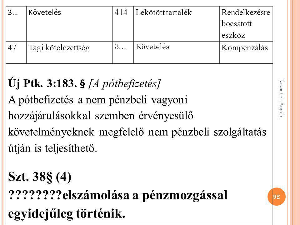 Rezsabek Angéla 92 3…Követelés 414Lekötött tartalék Rendelkezésre bocsátott eszköz 47Tagi kötelezettség 3…Követelés Kompenzálás Új Ptk. 3:183. § [A pó