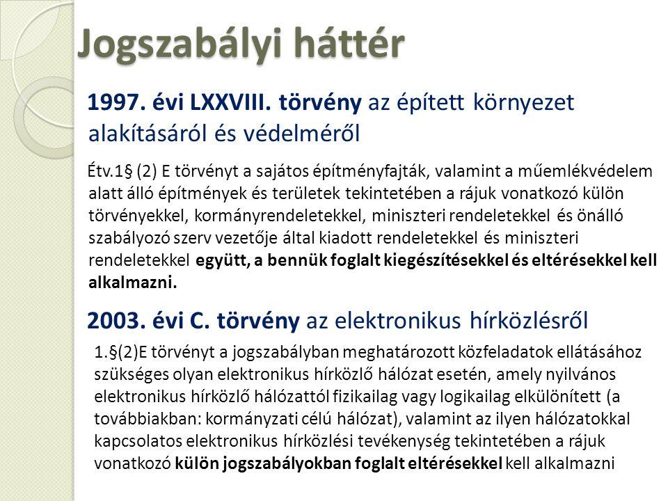 Jogszabályi háttér 1997. évi LXXVIII. törvény az épített környezet alakításáról és védelméről Étv.1§ (2) E törvényt a sajátos építményfajták, valamint