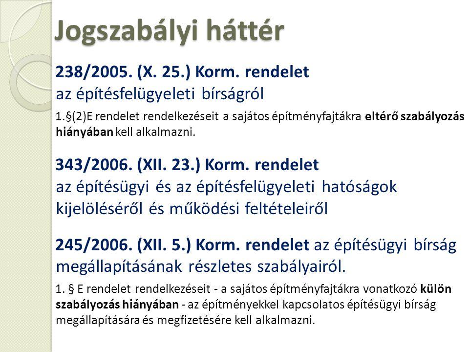 Jogszabályi háttér 238/2005. (X. 25.) Korm. rendelet az építésfelügyeleti bírságról 1.§(2)E rendelet rendelkezéseit a sajátos építményfajtákra eltérő