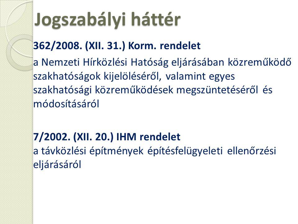 Jogszabályi háttér 362/2008. (XII. 31.) Korm. rendelet a Nemzeti Hírközlési Hatóság eljárásában közreműködő szakhatóságok kijelöléséről, valamint egye