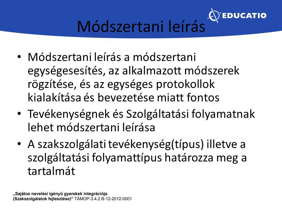 Módszertani leírás Módszertani leírás a módszertani egységesesítés, az alkalmazott módszerek rögzítése, és az egységes protokollok kialakítása és beve