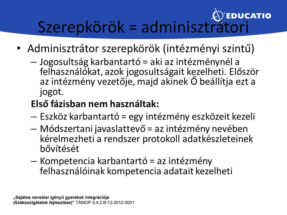 Szerepkörök = adminisztrátori Adminisztrátor szerepkörök (intézményi szintű) – Jogosultság karbantartó = aki az intézménynél a felhasználókat, azok jo