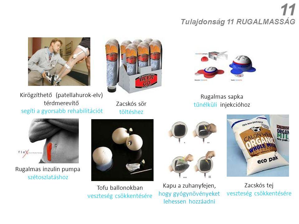 11 Kapu a zuhanyfejen, hogy gyógynövényeket lehessen hozzáadni Kirögzíthető (patellahurok-elv) térdmerevítő segíti a gyorsabb rehabilitációt Tulajdonság 11 RUGALMASSÁG Rugalmas sapka tűnélküli injekcióhoz Zacskós sör töltéshez Rugalmas inzulin pumpa szétoszlatáshoz Zacskós tej veszteség csökkentésére Tofu ballonokban veszteség csökkentésére