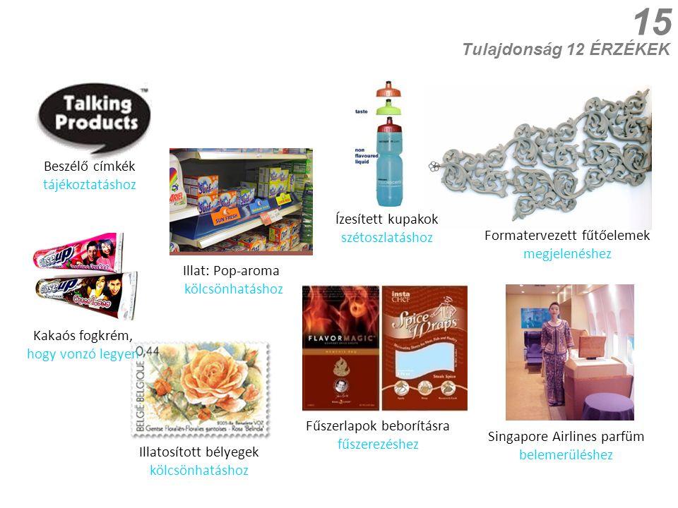 15 Illatosított bélyegek kölcsönhatáshoz Kakaós fogkrém, hogy vonzó legyen Fűszerlapok beborításra fűszerezéshez Tulajdonság 12 ÉRZÉKEK Formatervezett fűtőelemek megjelenéshez Singapore Airlines parfüm belemerüléshez Illat: Pop-aroma kölcsönhatáshoz Ízesített kupakok szétoszlatáshoz Beszélő címkék tájékoztatáshoz