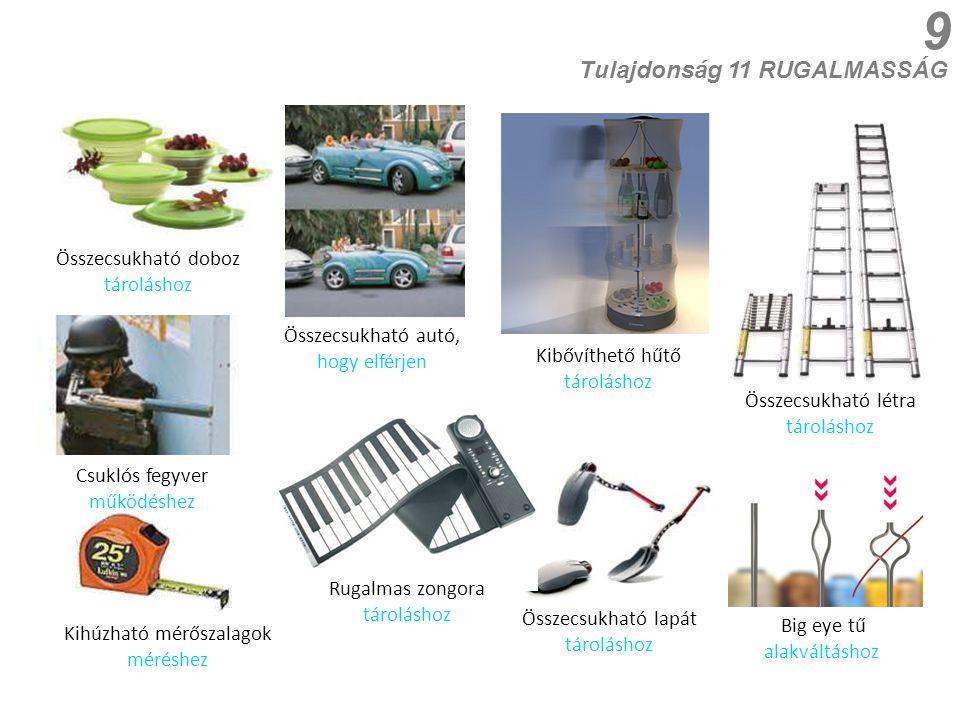 9 Csuklós fegyver működéshez Összecsukható autó, hogy elférjen Összecsukható doboz tároláshoz Összecsukható létra tároláshoz Tulajdonság 11 RUGALMASSÁG Összecsukható lapát tároláshoz Kihúzható mérőszalagok méréshez Big eye tű alakváltáshoz Kibővíthető hűtő tároláshoz Rugalmas zongora tároláshoz