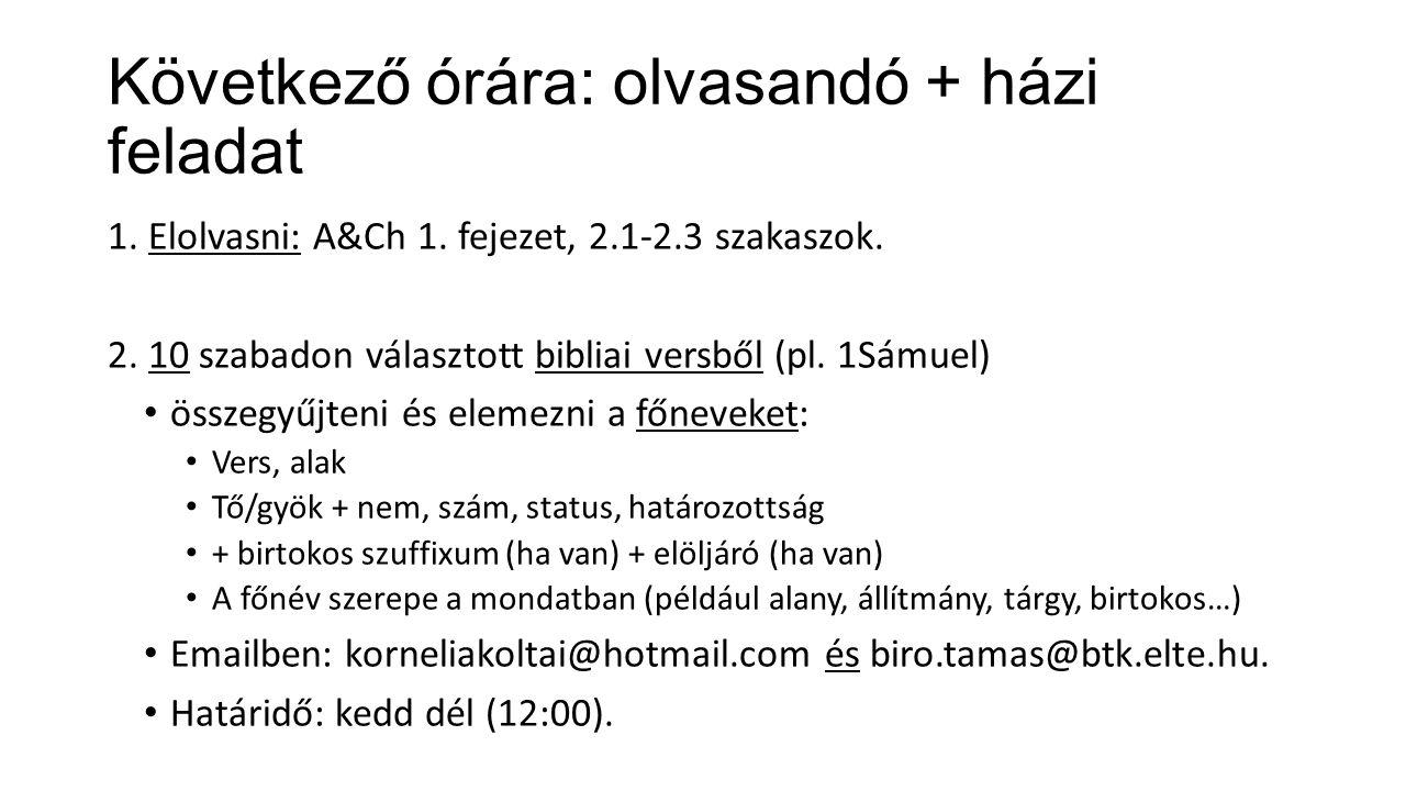 Következő órára: olvasandó + házi feladat 1. Elolvasni: A&Ch 1. fejezet, 2.1-2.3 szakaszok. 2. 10 szabadon választott bibliai versből (pl. 1Sámuel) ös