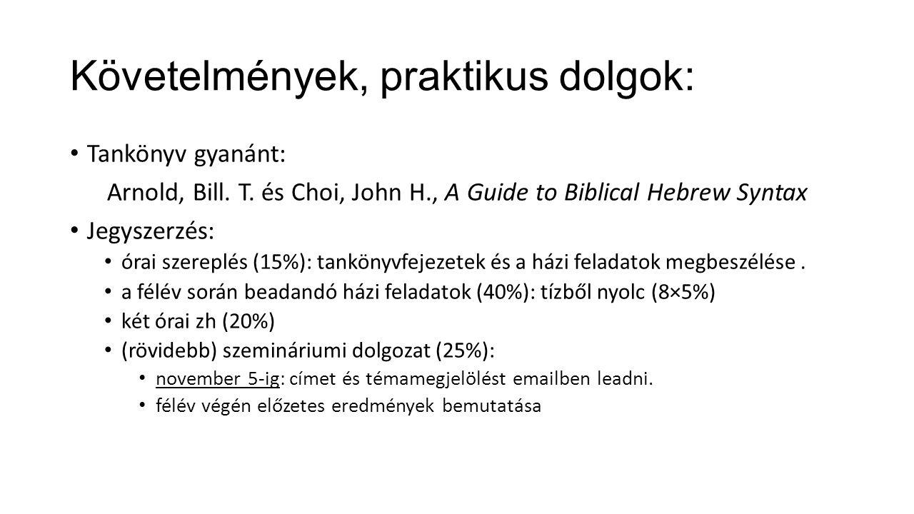 Követelmények, praktikus dolgok: Tankönyv gyanánt: Arnold, Bill. T. és Choi, John H., A Guide to Biblical Hebrew Syntax Jegyszerzés: órai szereplés (1