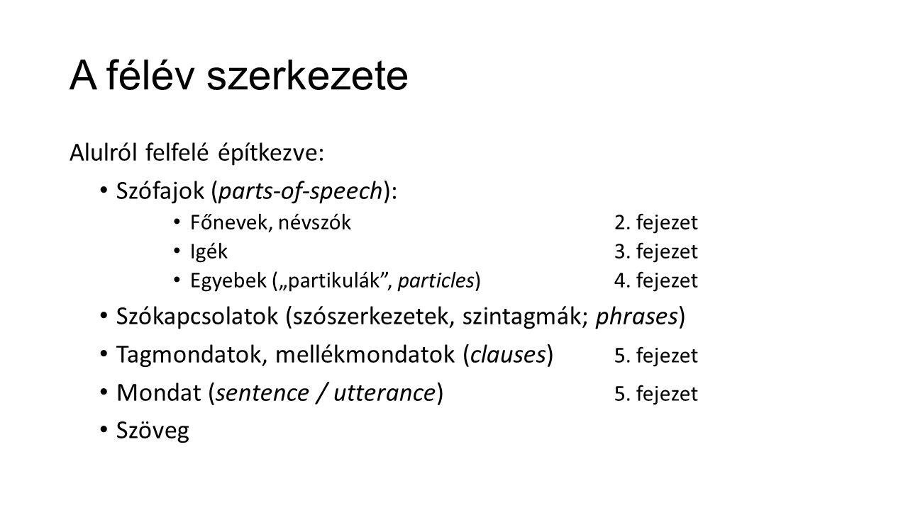 """Alulról felfelé építkezve: Szófajok (parts-of-speech): Főnevek, névszók2. fejezet Igék 3. fejezet Egyebek (""""partikulák"""", particles)4. fejezet Szókapcs"""