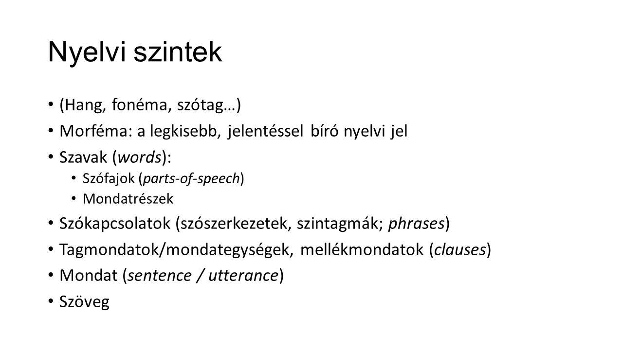 Nyelvi szintek (Hang, fonéma, szótag…) Morféma: a legkisebb, jelentéssel bíró nyelvi jel Szavak (words): Szófajok (parts-of-speech) Mondatrészek Szóka