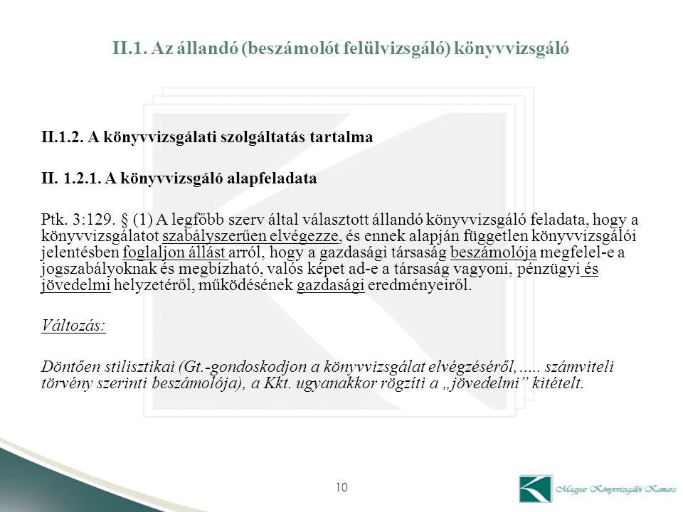 II.1. Az állandó (beszámolót felülvizsgáló) könyvvizsgáló II.1.2. A könyvvizsgálati szolgáltatás tartalma II. 1.2.1. A könyvvizsgáló alapfeladata Ptk.
