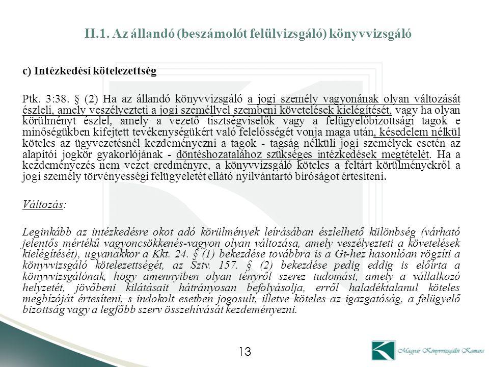 II.1. Az állandó (beszámolót felülvizsgáló) könyvvizsgáló c) Intézkedési kötelezettség Ptk. 3:38. § (2) Ha az állandó könyvvizsgáló a jogi személy vag