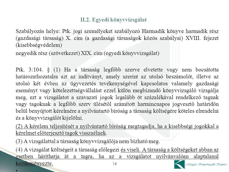 II.2. Egyedi könyvvizsgálat Szabályozás helye: Ptk. jogi személyeket szabályozó Harmadik könyve harmadik rész (gazdasági társaság) X. cím (a gazdasági