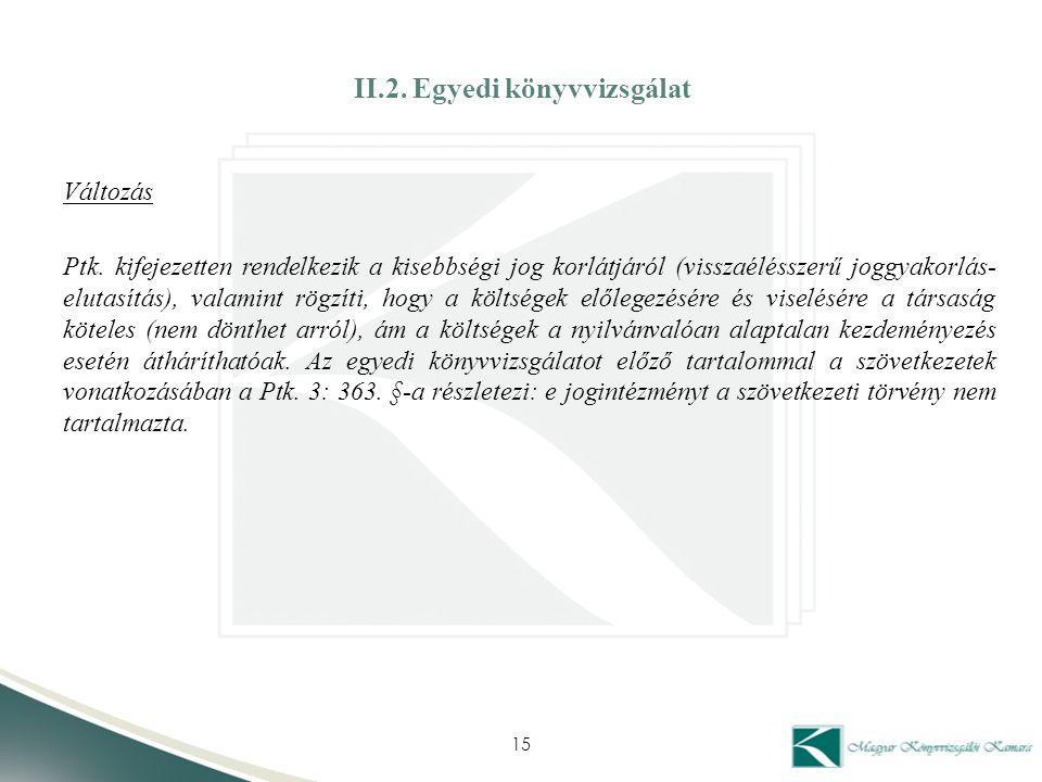 II.2. Egyedi könyvvizsgálat Változás Ptk. kifejezetten rendelkezik a kisebbségi jog korlátjáról (visszaélésszerű joggyakorlás- elutasítás), valamint r