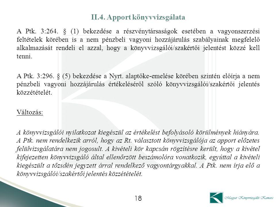 II.4. Apport könyvvizsgálata A Ptk. 3:264. § (1) bekezdése a részvénytársaságok esetében a vagyonszerzési feltételek körében is a nem pénzbeli vagyoni
