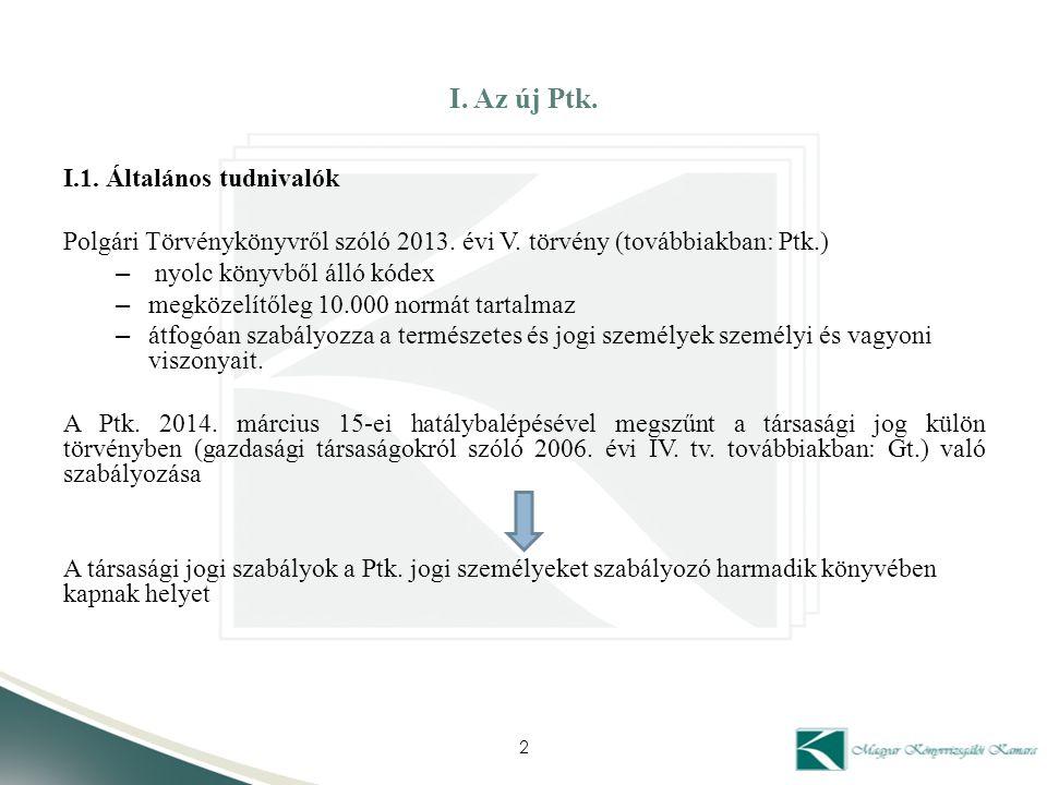 I. Az új Ptk. I.1. Általános tudnivalók Polgári Törvénykönyvről szóló 2013. évi V. törvény (továbbiakban: Ptk.) – nyolc könyvből álló kódex – megközel