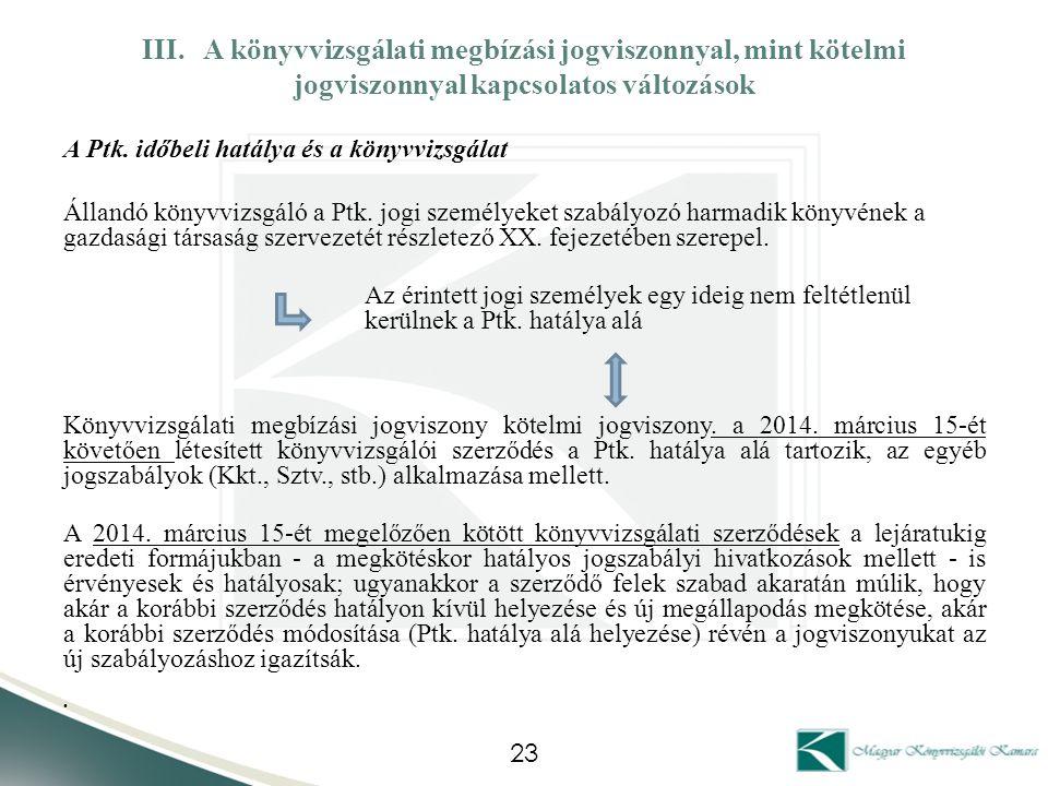 III. A könyvvizsgálati megbízási jogviszonnyal, mint kötelmi jogviszonnyal kapcsolatos változások A Ptk. időbeli hatálya és a könyvvizsgálat Állandó k