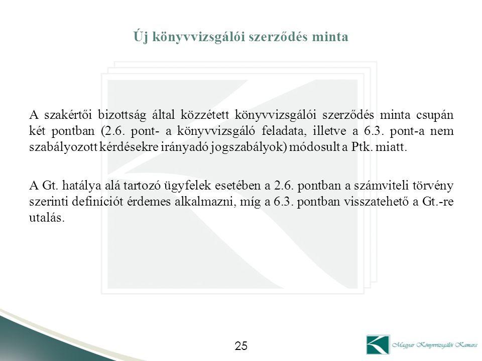 Új könyvvizsgálói szerződés minta A szakértői bizottság által közzétett könyvvizsgálói szerződés minta csupán két pontban (2.6. pont- a könyvvizsgáló