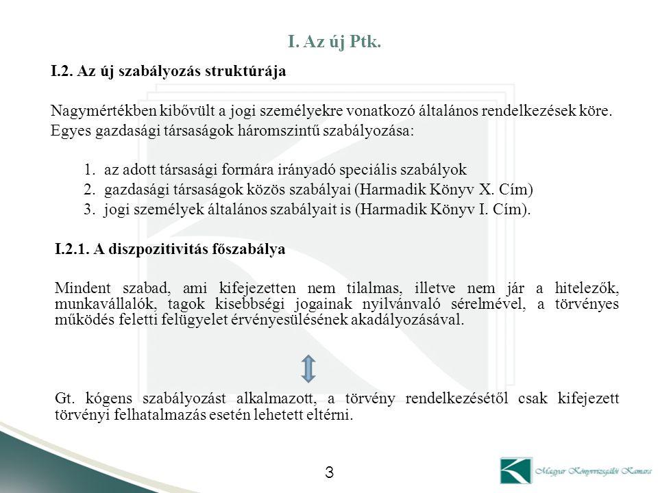 I. Az új Ptk. I.2. Az új szabályozás struktúrája Nagymértékben kibővült a jogi személyekre vonatkozó általános rendelkezések köre. Egyes gazdasági tár