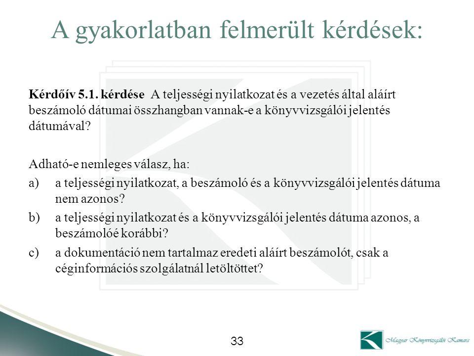 A gyakorlatban felmerült kérdések: Kérdőív 5.1. kérdése A teljességi nyilatkozat és a vezetés által aláírt beszámoló dátumai összhangban vannak-e a kö