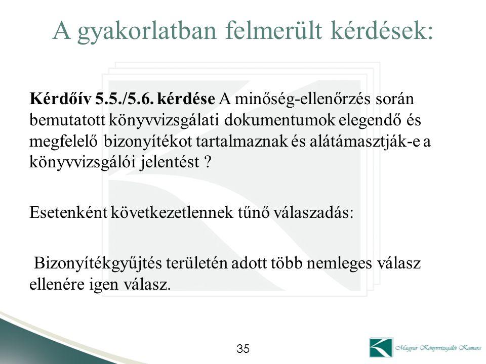 A gyakorlatban felmerült kérdések: Kérdőív 5.5./5.6. kérdése A minőség-ellenőrzés során bemutatott könyvvizsgálati dokumentumok elegendő és megfelelő