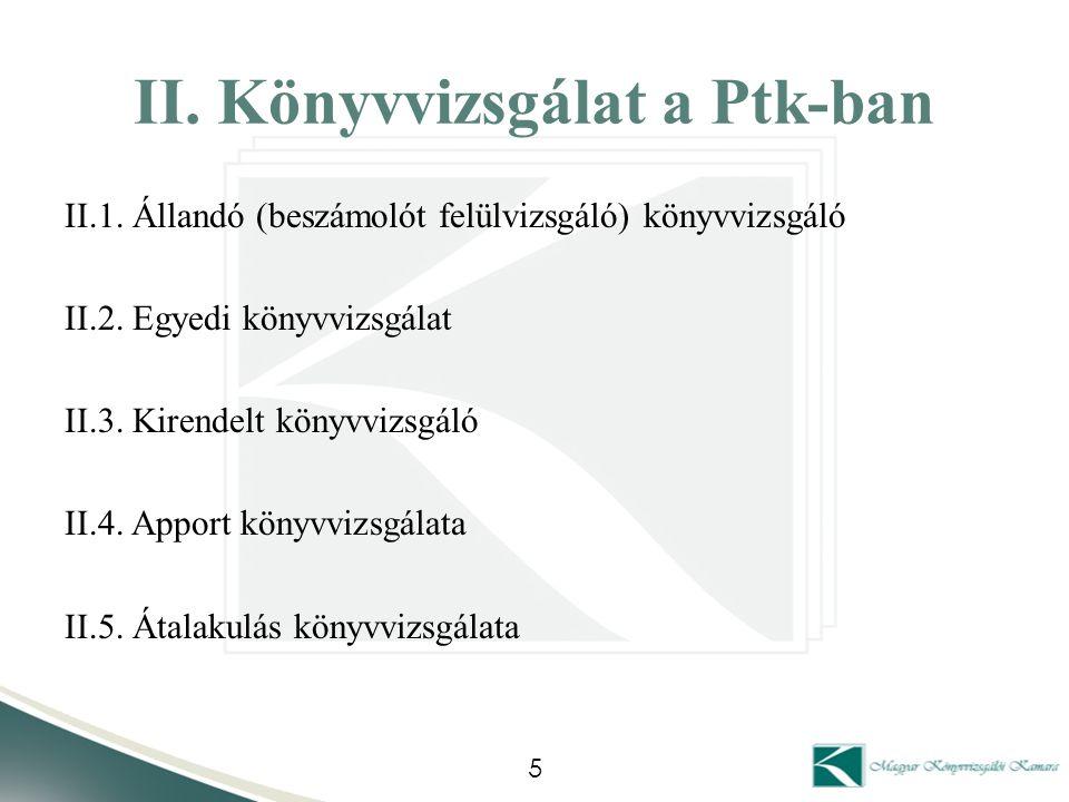 II. Könyvvizsgálat a Ptk-ban II.1. Állandó (beszámolót felülvizsgáló) könyvvizsgáló II.2. Egyedi könyvvizsgálat II.3. Kirendelt könyvvizsgáló II.4. Ap