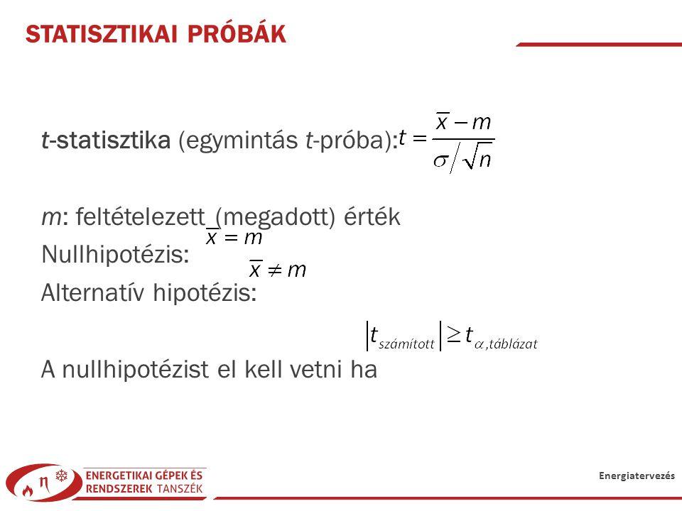 Energiatervezés STATISZTIKAI PRÓBÁK t-statisztika (egymintás t-próba): m: feltételezett (megadott) érték Nullhipotézis: Alternatív hipotézis: A nullhi
