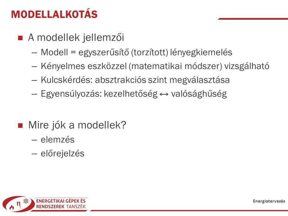 Energiatervezés MODELLALKOTÁS A modellek jellemzői – Modell = egyszerűsítő (torzított) lényegkiemelés – Kényelmes eszközzel (matematikai módszer) vizs