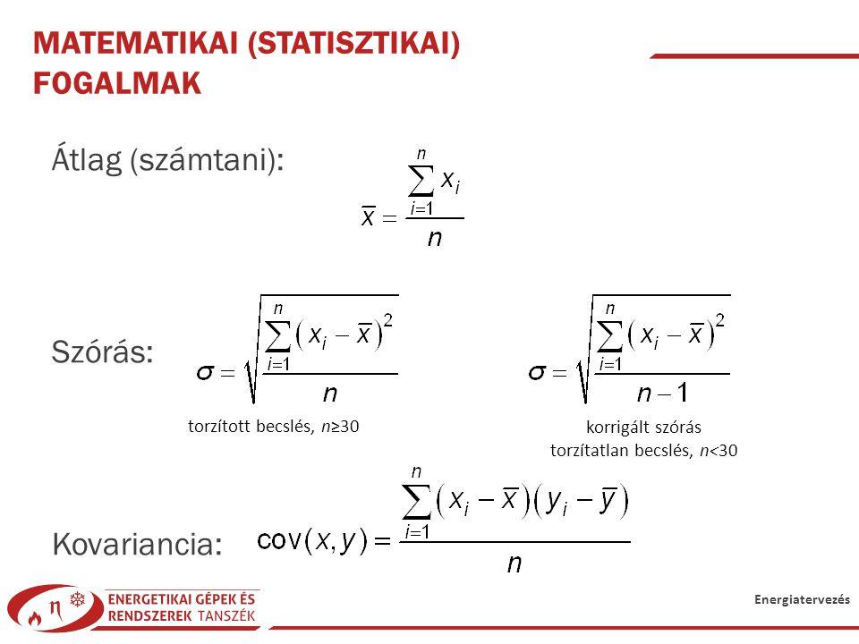Energiatervezés MATEMATIKAI (STATISZTIKAI) FOGALMAK Átlag (számtani): Szórás: Kovariancia: torzított becslés, n≥30 korrigált szórás torzítatlan becslé